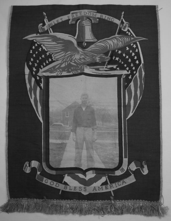 "12.5 x 17 inch fabric banner with words: Let Freedom Ring - God Bless America"" with a bell, 2 American flags and an eagle on top and a sepia toned picture of Charles E Hopkins standing outside."