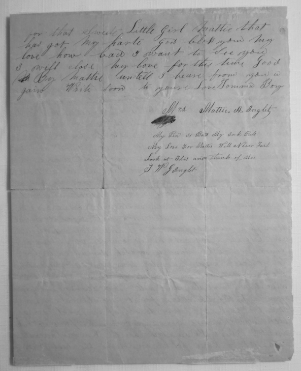 TWG INGLETT letter to wife Martha A. PALMER
