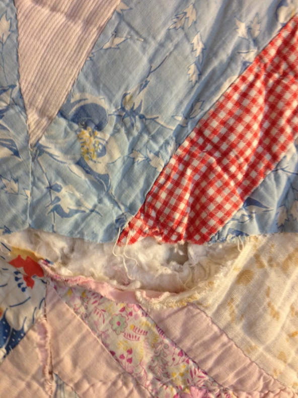 Close up of 1940's scrap quilt made by Eula Mae.