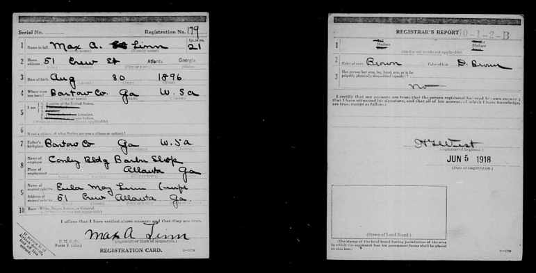WWI Draft Card of Max Augustus LINN