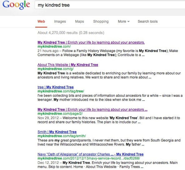 "Google Search Screen Results for  ""My Kindred Tree'"