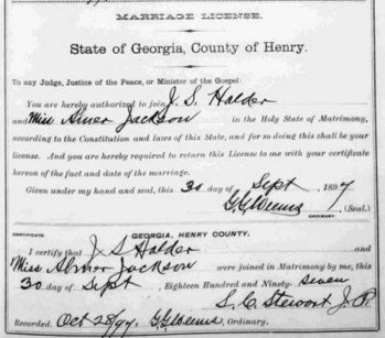 Marriage Certificate of James Solomon HOLDER and Alma Josephine JACKSON