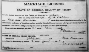 Marriage Certificate of James Solomon HOLDER and Della HARKNESS