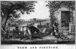 Currier and Ives Print of Farm and Field