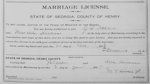 Marriage Certificate of Odella HARKNESS and James HOLDER