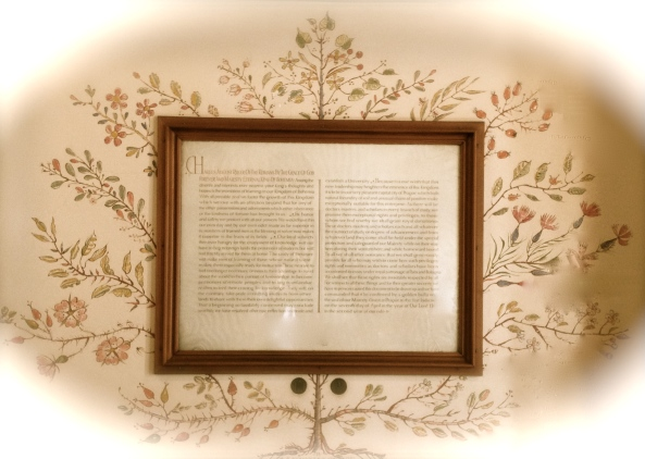 Framed Geneology with Decorative Tree Painted on Wall