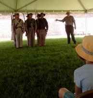 Ranger Standing Next to Civil War Soldiers
