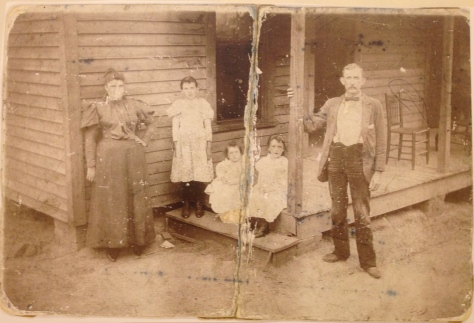 From Left to Right:  'Mattie' Elizabeth STEPHENS, Lizzie DENTON, Florence Estell DENTON, Myrtle Faye DENTON, Joseph Martin DENTON.  Circa1895