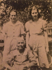 Mary Jane CROWELL JACKSON (sitting) with daughters Luvene and Emmie