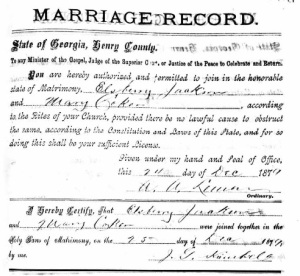 "Marriage certificate of Mary ""Mollie"" J. COKER and Elsberry B. JACKSON"