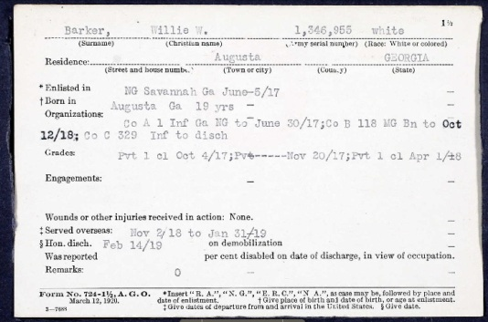 WWI Service Record of William Washington BARKER