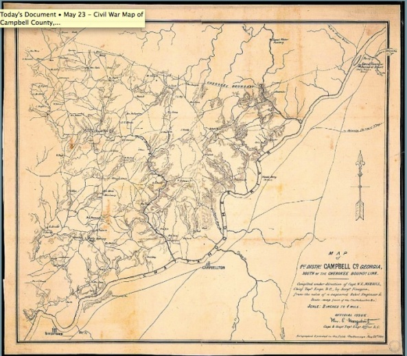May 23 - Civil War Map of Campbell County, Georgia.