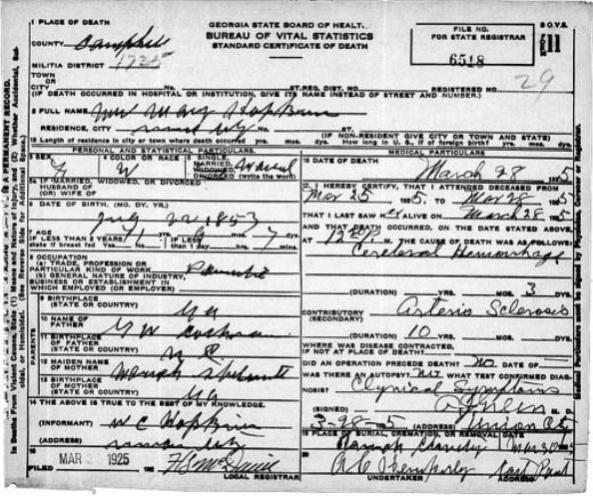 Death Certificate of Mary Elizabeth COCHRAN