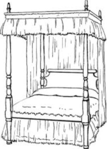 Four poster bed drawing