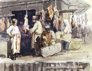 Open Meat Market Painting