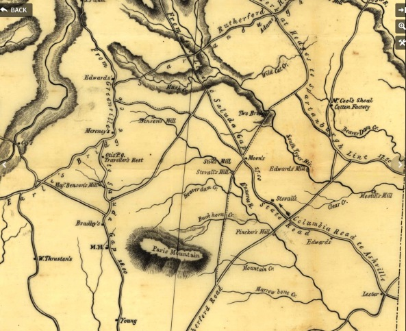 1820 SC Map Showing Styles Mill & Traveler's Rest