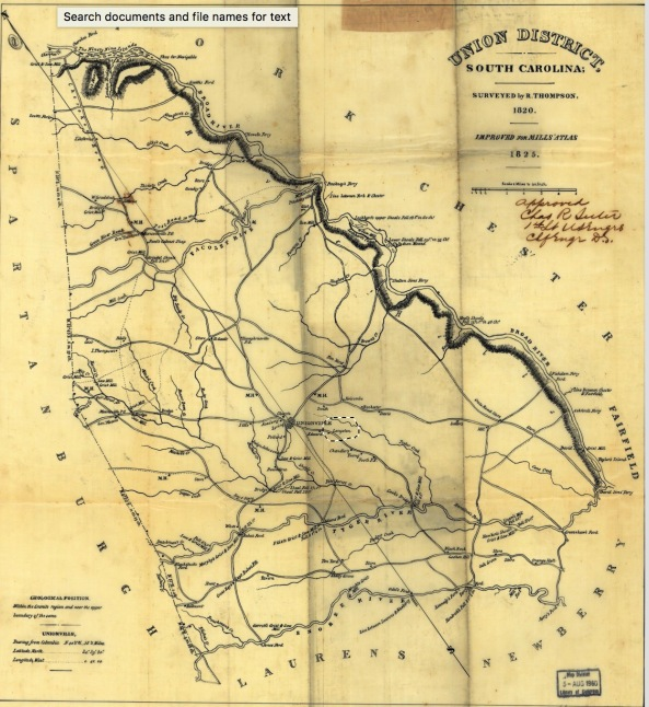 1820 Map of Lauren County SC