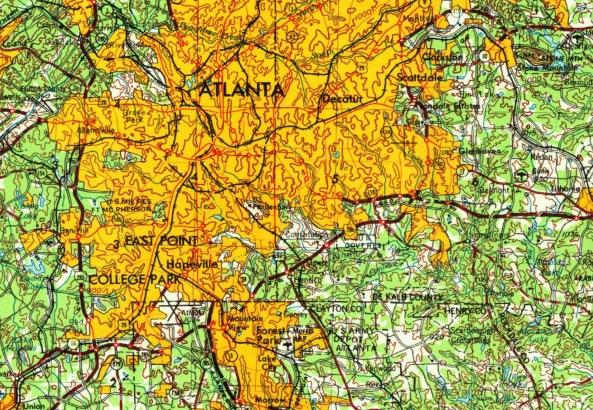 1953 Map of Atlanta courtesy oldmapsonline.com