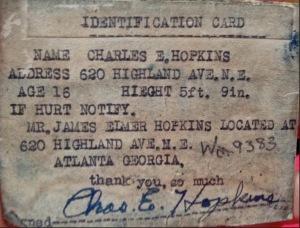 Charles Hopkins ID Card